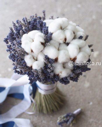 букет невесты из сухоцветов с хлопком и лавандой