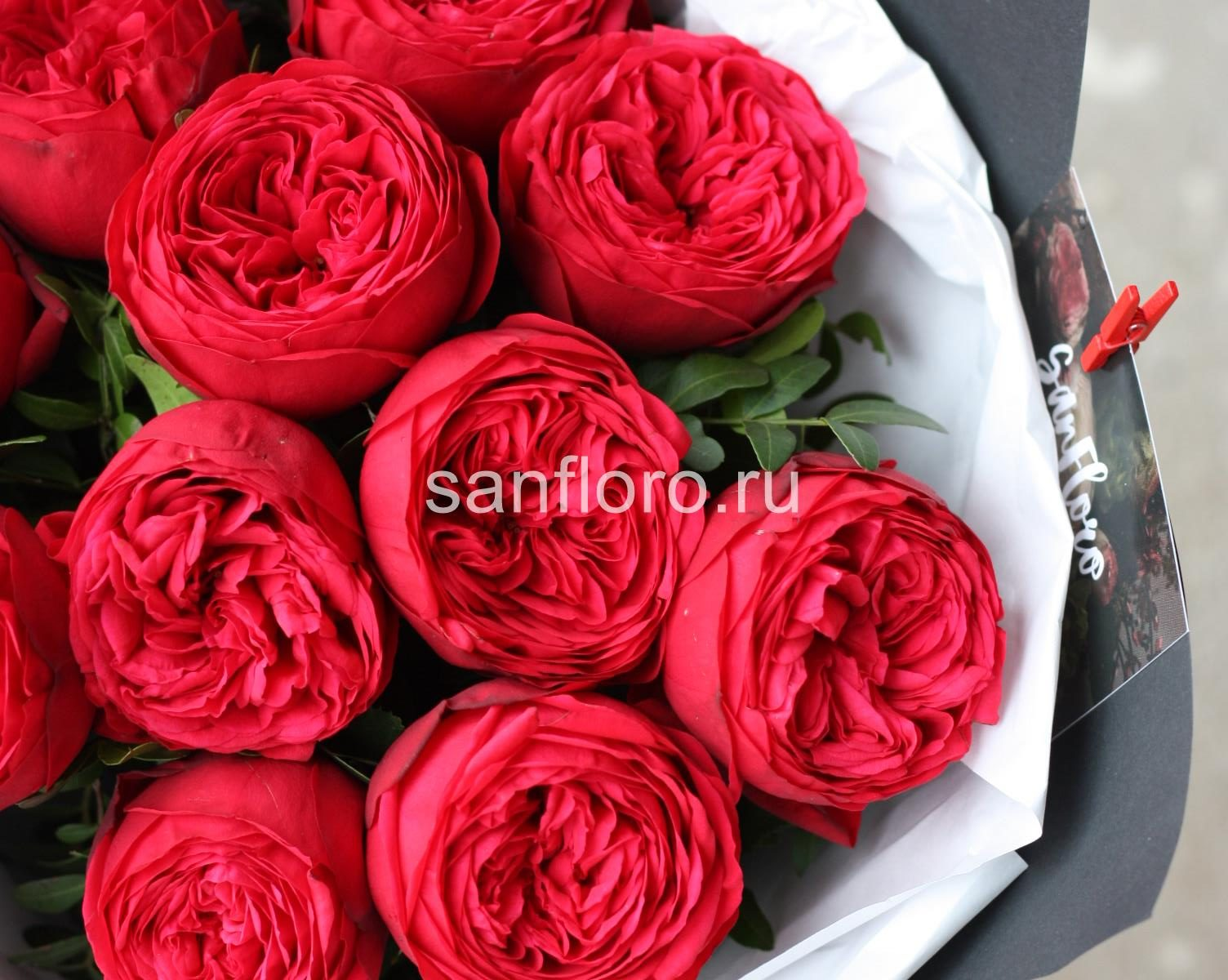 букет из пионовидных роз Ред Пиано